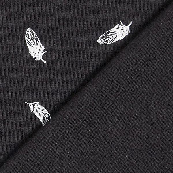 Baumwolljersey Federn – schwarz
