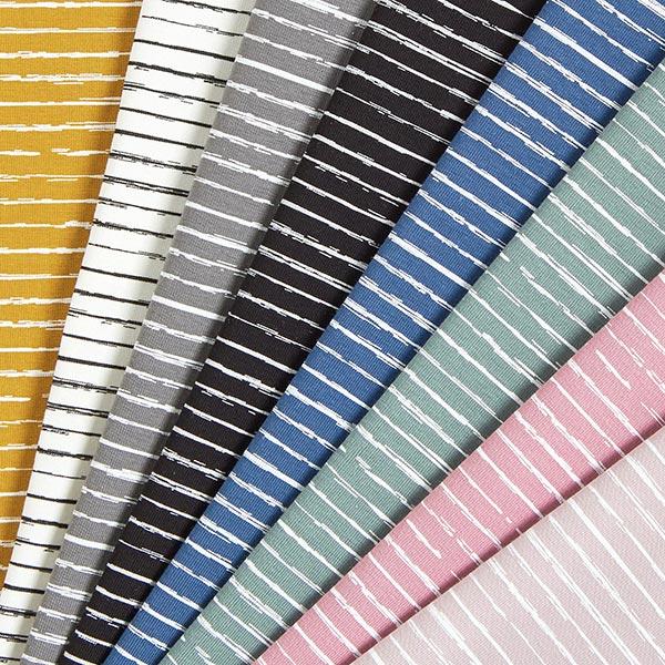 Baumwolljersey Skribbel-Streifen – pastellviolett