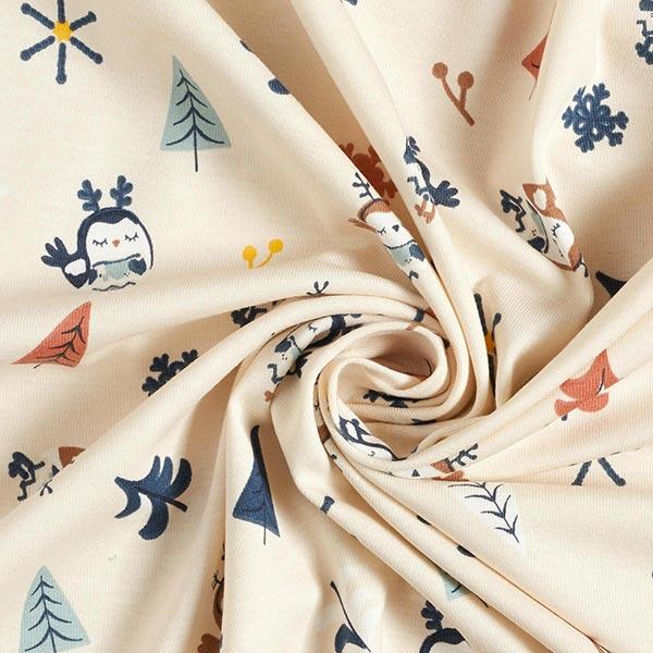 Baumwolljersey Weihnachtseule – beige