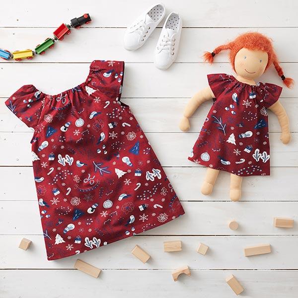 Jersey coton Décoration de Noël – carmin