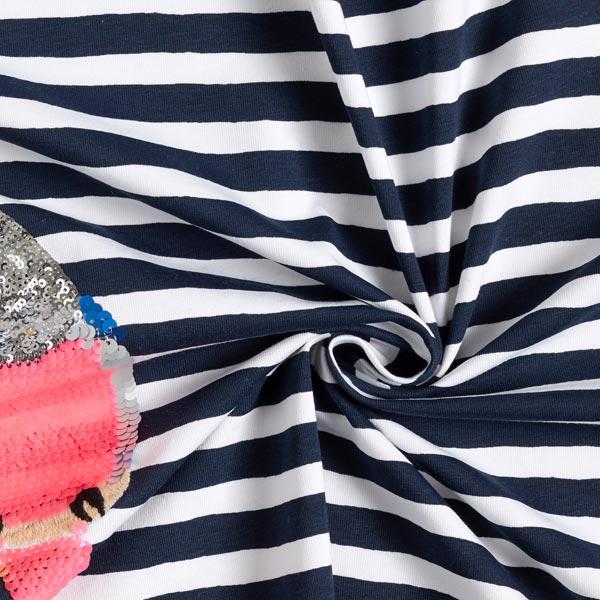 Jersey coton Panel Paillettes réversibles Inséparable – bleu marine/blanc