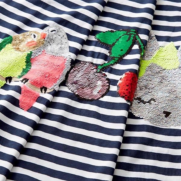 Article de second choix Jersey coton Panel Paillettes réversibles Cerises – bleu marine/blanc