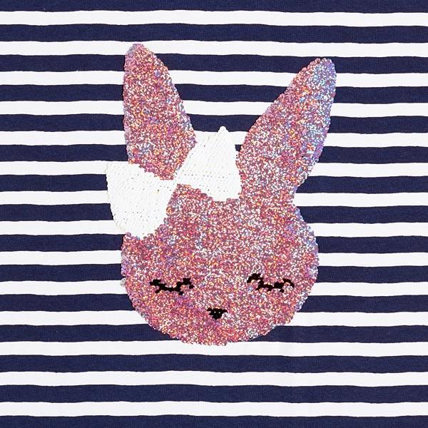 Jersey coton Panel Paillettes réversibles Poupée lapine – bleu marine/blanc