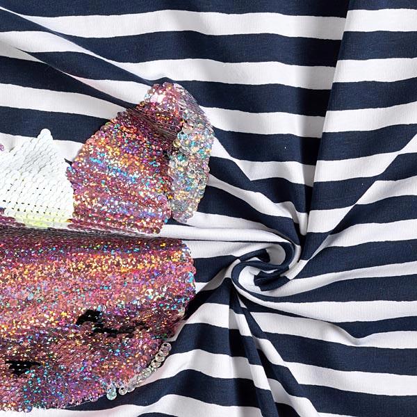 Article de second choix Jersey coton Panel Paillettes réversibles Poupée lapine – bleu marine/blanc