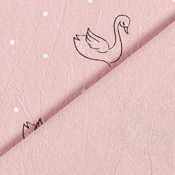 Tissus en coton Crinkle Cygne – rose/blanc