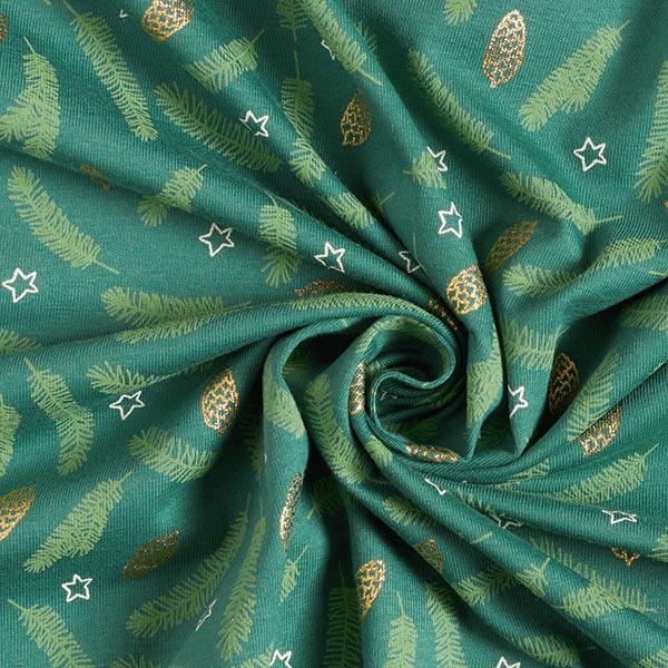 Jersey coton Branches de sapin et pommes de pin – vert foncé
