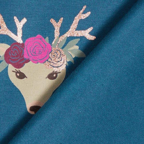 Jersey coton Renne en fleurs – pétrole/or rose