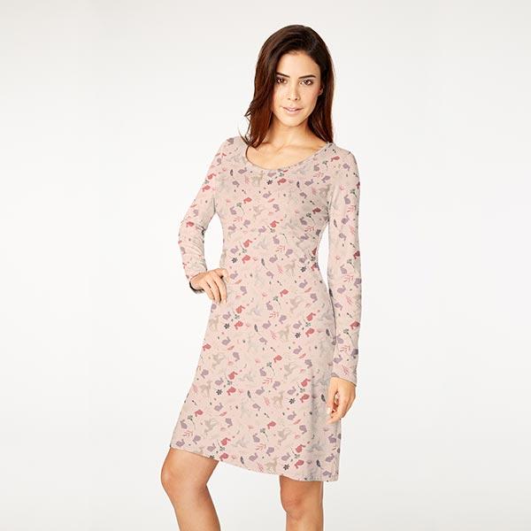 Jersey coton Animaux de la forêt dorés – rose