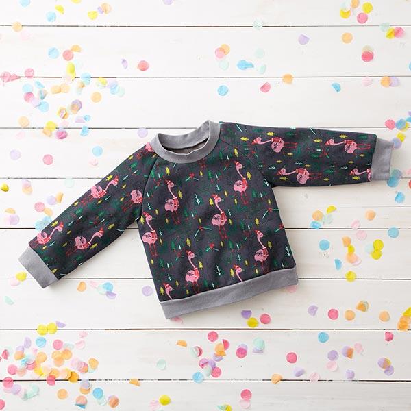 Sweatshirt gratté Flamants roses de Noël – gris foncé