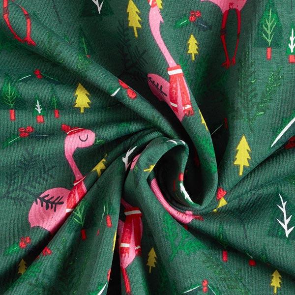 Sweatshirt gratté Flamants roses de Noël – vert foncé