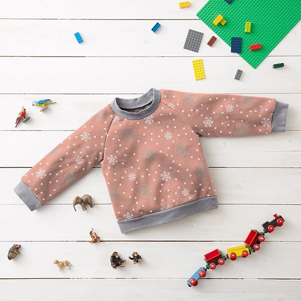 Sweatshirt angeraut Glitzer-Schneeflocken – altrosa