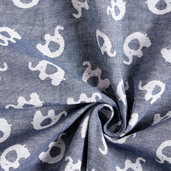 Double face Jacquard Tissu coton Éléphant – bleu jean/blanc