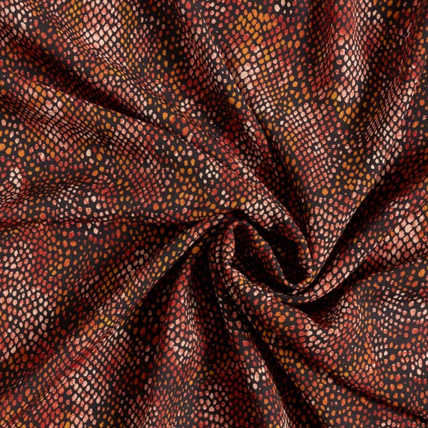 Crêpe Georgette motif serpents – rouge rouille