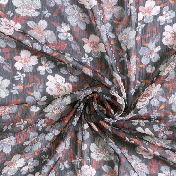 Crêpe chiffon fleurs automnales – noir