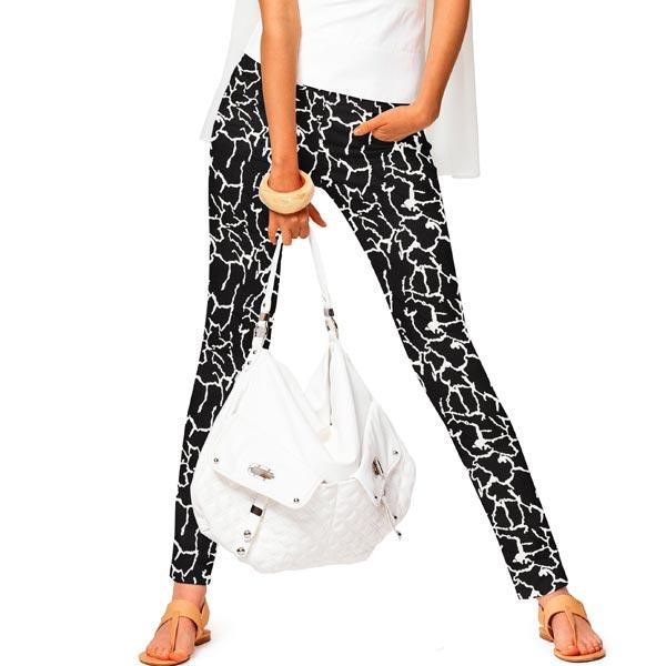 Tissu pour pantalon coton stretch fissures – noir/blanc