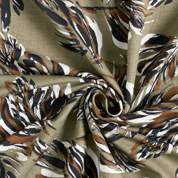 Tissu pour robes et chemisiers feuilles de palmier – olive
