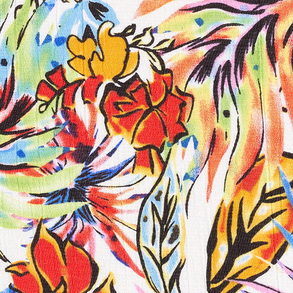 Tissu pour chemisier Crêpe Tropicana – vert/rose vif