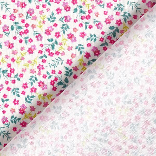 Batiste de coton fin Rinceaux de fleurs miniature – rose vif/jaune clair