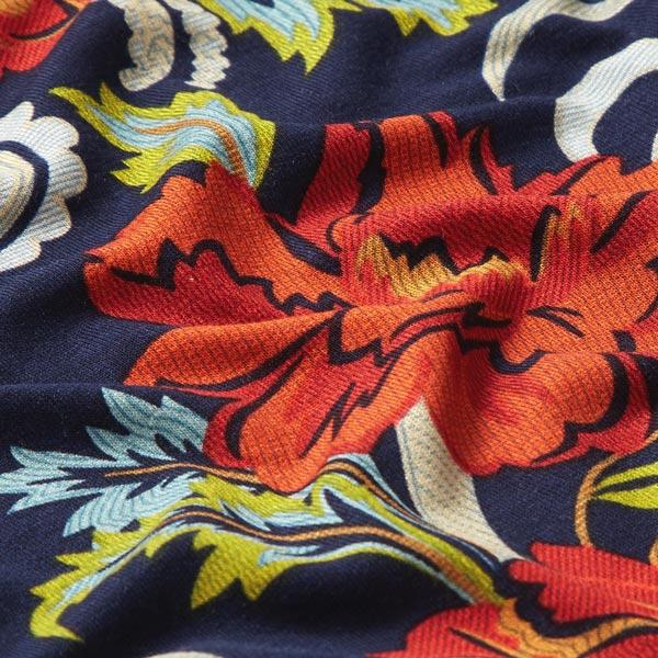 Jersey viscose Motif Paisley floral – bleu marine