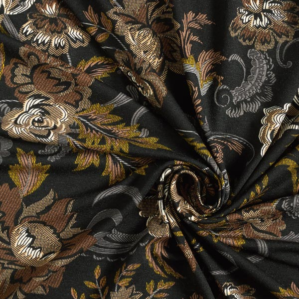 Jersey viscose Motif Paisley floral – noir
