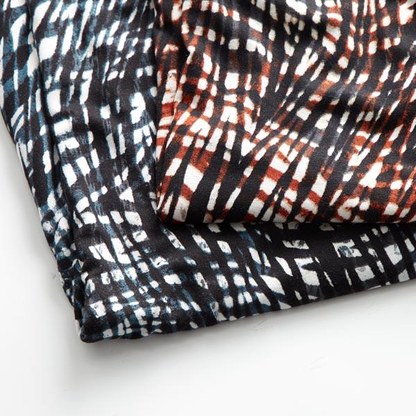 Jersey viscose Motif abstrait – terre cuite/noir