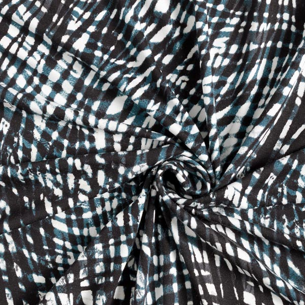 Jersey viscose Motif abstrait – pétrole/noir