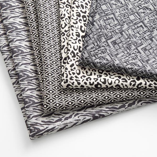 Jacquard d'habillement élastique sur la longueur Zèbre – noir/gris clair