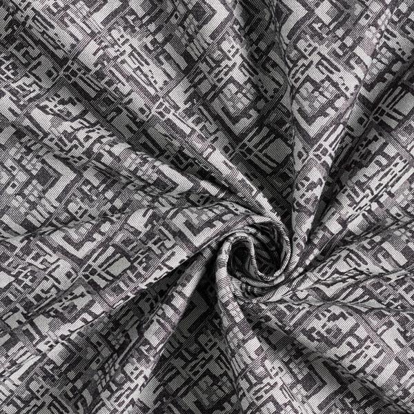 Jacquard d'habillement élastique sur la longueur Losanges abstraits – noir/gris clair