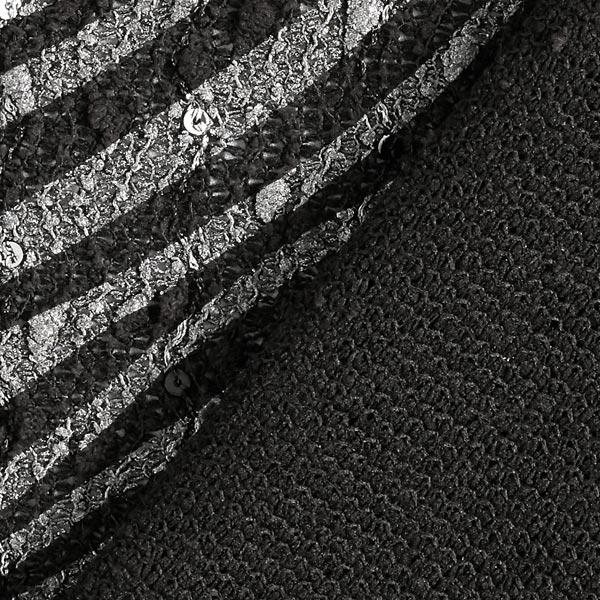 Tissu bouclé Zèbre – noir/argent