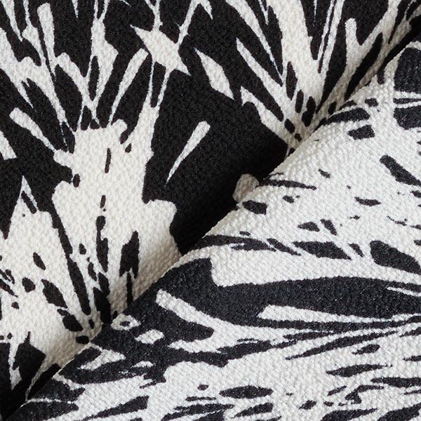 Tissu crêpe polyester roseaux – noir/blanc