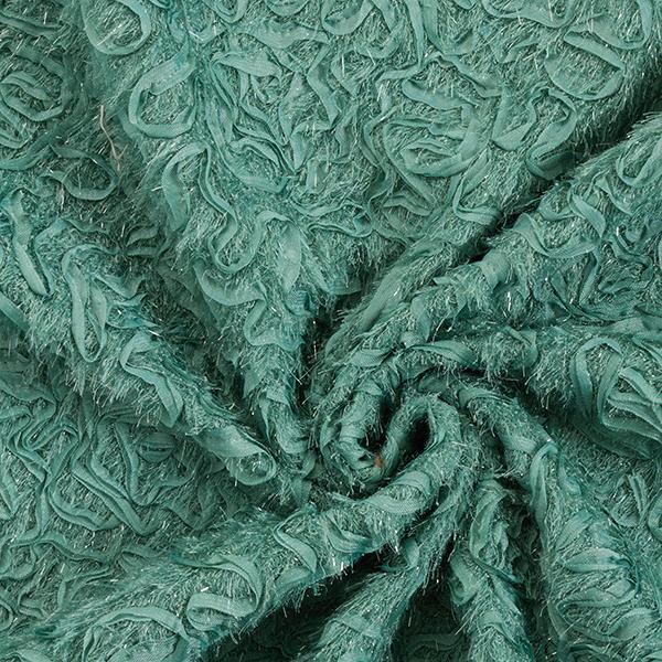Tissu maille brodé Franges scintillantes Labyrinthe – roseau