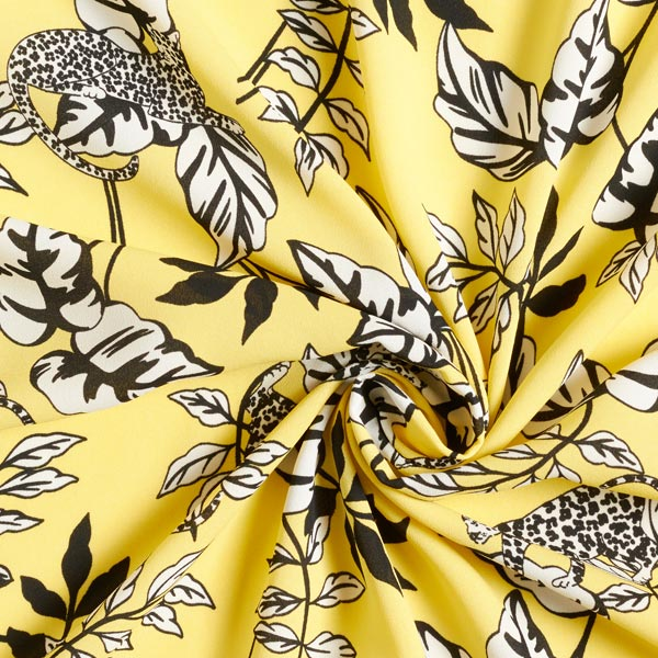 Crêpe Georgette Léopard et feuilles – jaune clair