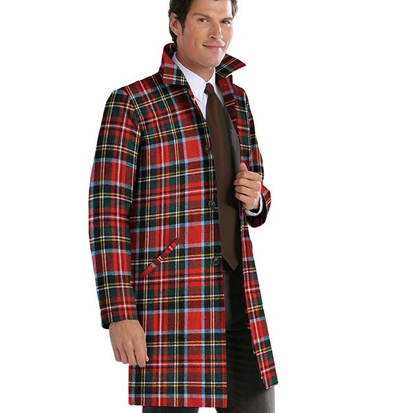 Tissu pour manteau Mélange de laine Carreaux écossais – rouge vif/bleu clair