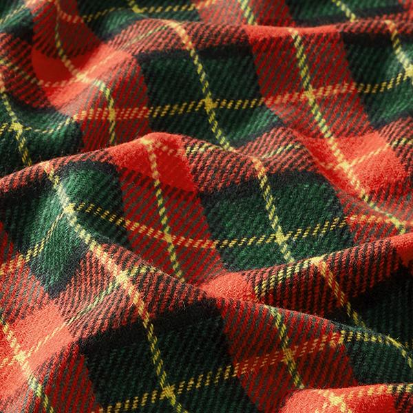 Tissu pour manteau Mélange de laine Carreaux écossais – rouge vif/vert