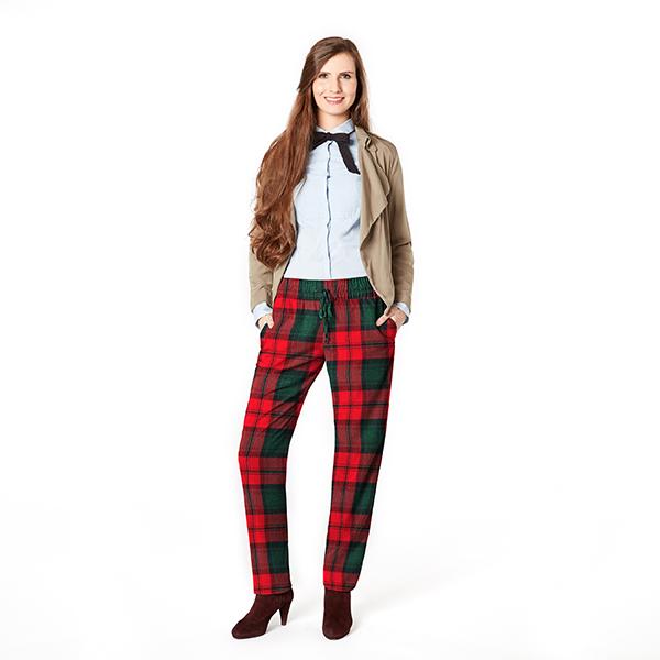 Tissu pour manteau Mélange de laine Carreaux écossais – carmin/vert foncé