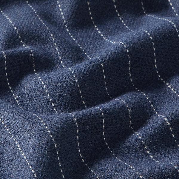 Tissu pour manteau Mélange de laine Rayures fines – navy
