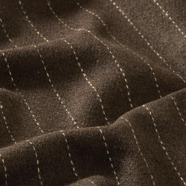 Tissu pour manteau Mélange de laine Rayures fines – marron foncé