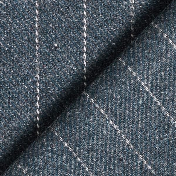 Tissu pour manteau Mélange de laine Rayures fines – gris bleu
