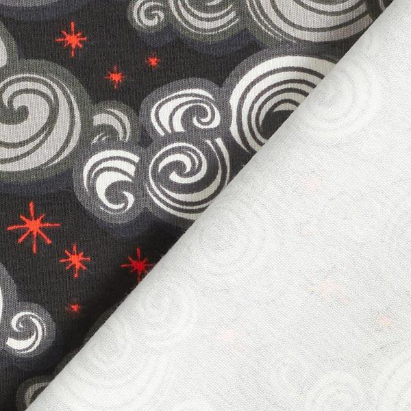 Jersey coton Nuages tourbillon – noir/rouge