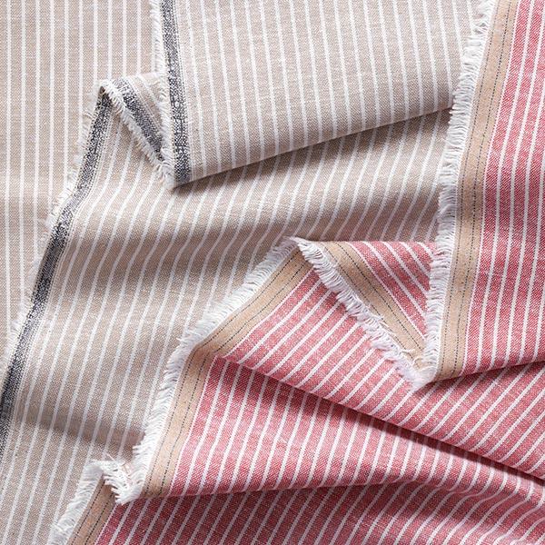 Mélange lin coton Rayures verticales – rouge clair/blanc