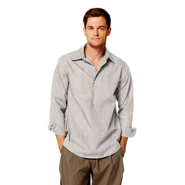 Mélange lin coton Rayures verticales – beige/blanc