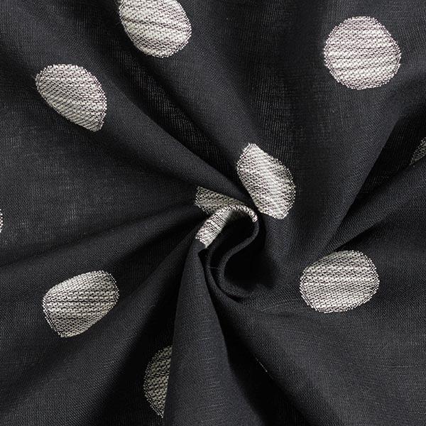 Mélange lin coton Cercles Dobby – noir/écru