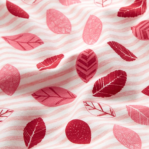 Jersey coton Feuilles & rayures – rose/rouge