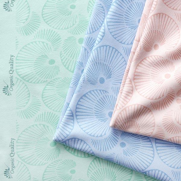 Jersey interlock douillet en coton bio Coquillages – bleu clair