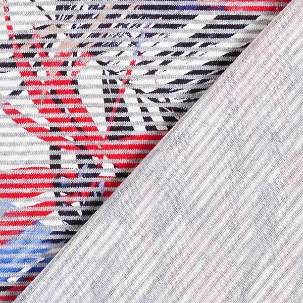 Jersey viscose Feuilles derrière rayures – gris/blanc