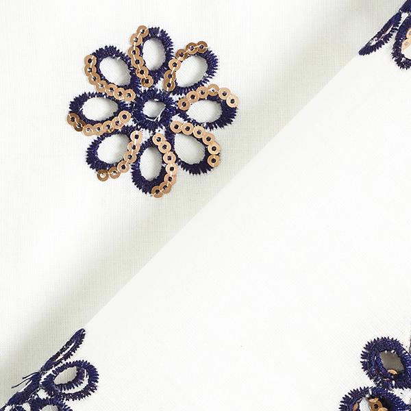 Tissu de coton mélangé Broderie à paillettes Fleur – blanc