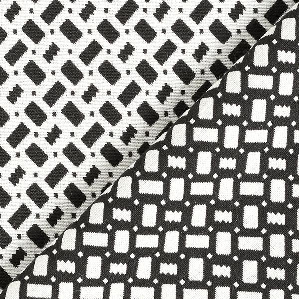 Jacquard d'habillement élastique en longueur Carrés – noir/écru