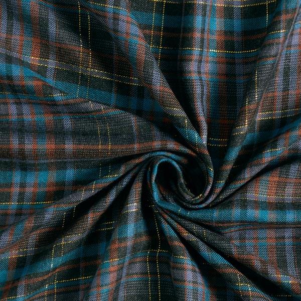 Tissu de chemisier sergé de viscose grands carreaux lurex – anthracite/pétrole