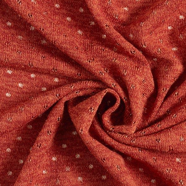 Tissu maille Motif ajouré à paillettes – terre cuite