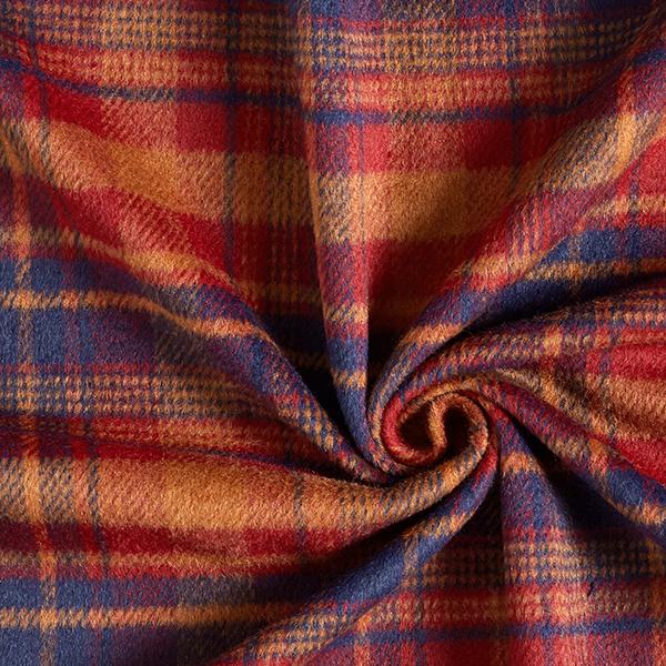 Tissu pour manteau Mélange de laine Motif carreaux – rouge-orange/bleu marine